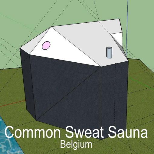 """Common Sweat Sauna is an urban sauna from Brussels experimenting with the possibilities of sauna in the public space."" Common Sweat Sauna, Brussels, Belgium."