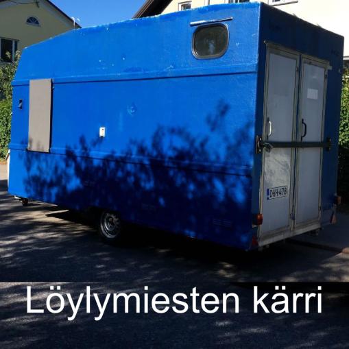 """""""Kovan löylyn ystäville."""" Löylymiesten kärri, Helsinki."""